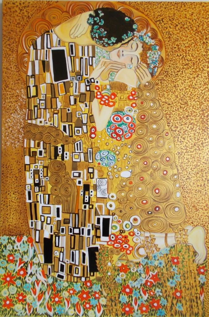 obrazy-olejne,kopia, Klimt- Pocałunek 90x60cm